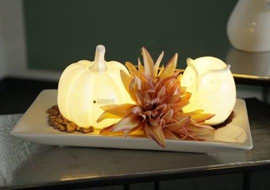 Herbstdeko Idee mit Eule Arida und Kuerbis Pastazo