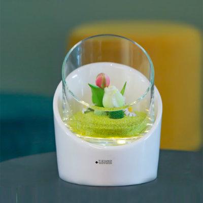 Windlicht Calvo LED creme-weiß