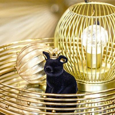 Deko Schwein Mantua gerade sitzend schwarz samt / gold