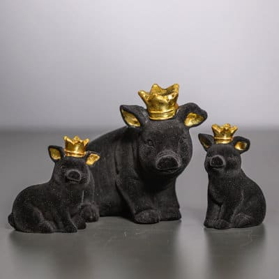 Deko Schwein Mantua sitzend schwarz samt/gold