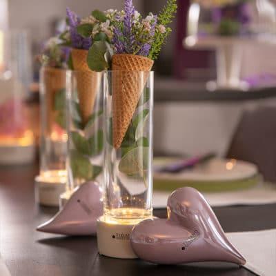 Vase Windlicht Castello LED weiß-creme mit Klarglas