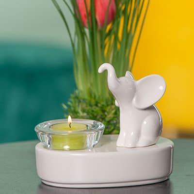 Dekolicht mit Leon sitzend 15cm oval für Glas Trixy weiß-creme