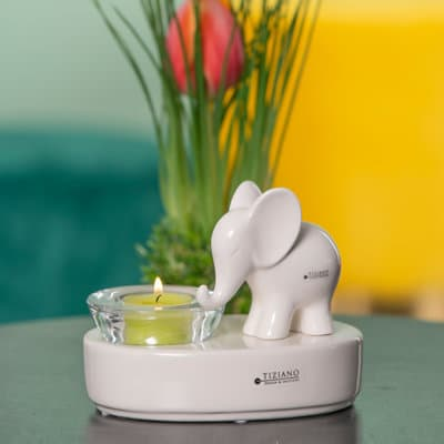 Dekolicht mit Leon stehend 15cm oval für Glas Trixy weiß-creme