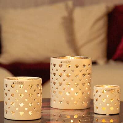 Tischlicht Amba Herzen weiß-creme / silber
