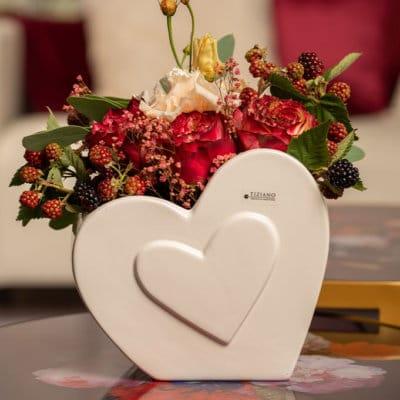 Blumentopf Amorosa mit Herz creme-weiß