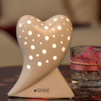 Deko Herz Belvina stehend LED weiß-creme