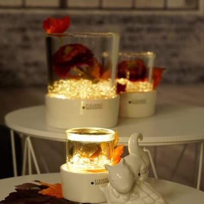 Windlicht Castello LED weiß-creme mit Glas Marit