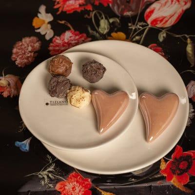Teller Pienza mit Herz weiß-creme/ rosa