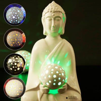 Dekofigur Shiva weiß-creme mit LED Kugel Padova der Elemente