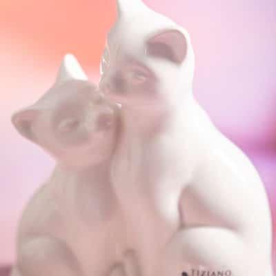 Dekofigur Katzenpaar Benedetta creme - weiß