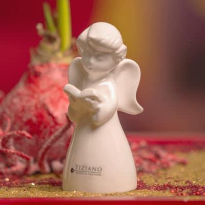 Dekofigur Engel Eliana mit Buch creme - weiß