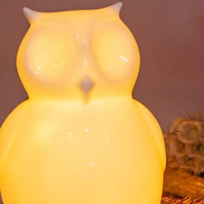 Vorbestellung: Dekofigur Eule Ida LED Kopf gerade creme-weiß