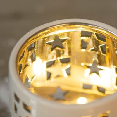 Tischlicht Atella mit Sternen creme - gold