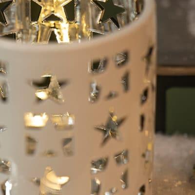 Tischlicht Atella mit Sternen creme - silber