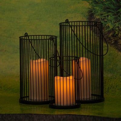 LED Kerze Atlanta in Metallhalter schwarz
