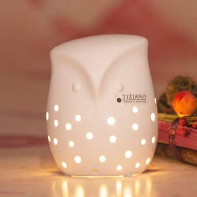 Dekofigur Eule Civetta LED creme - weiß