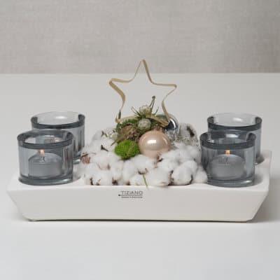 Adventslicht Elba eckig creme-weiß mit Rauchglas