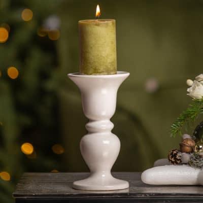 Kerzenhalter Gavena für Stumpenkerzen creme - weiß