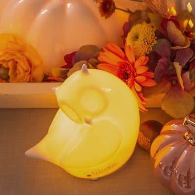 Vorbestellung: Dekofigur Eule Ida LED Kopf seitlich creme-weiß
