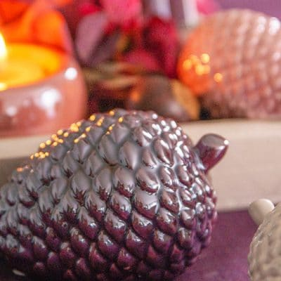 Dekoobjekt Zapfen Nuoro liegend red plum