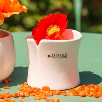 Mini Blumentopf Mondavio weiß-creme