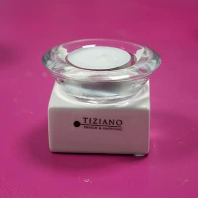 Tischlicht Trixy weiß-creme mit Klar Glas
