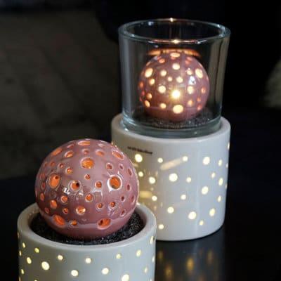 Windlicht Lugo rund LED mit Glas Marit 12cm klar