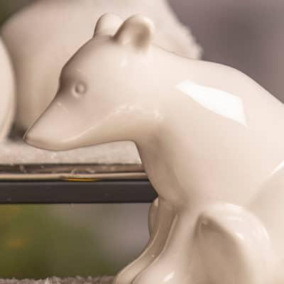 Deko Eisbär Bitonto sitzend weiß creme