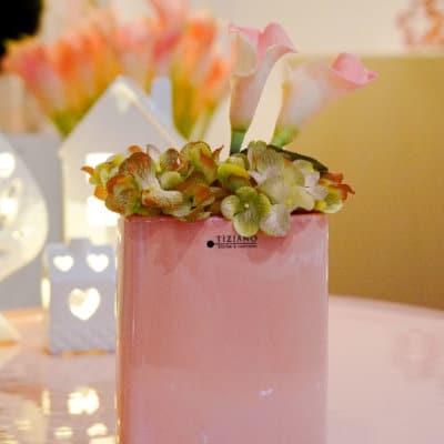 Dekoset Pflanzgefäß Crosia flach 12 rosa+Calla rosa
