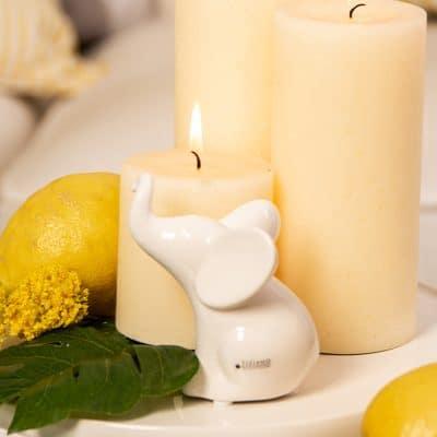 Dekofigur Deko Elefant Leon sitzend weiß-creme
