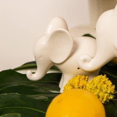 Dekofigur Deko Elefant Leon stehend weiß-creme