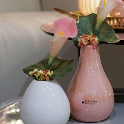Dekoset Tischvase Lina 14 schlank rosa mit Calla rosa