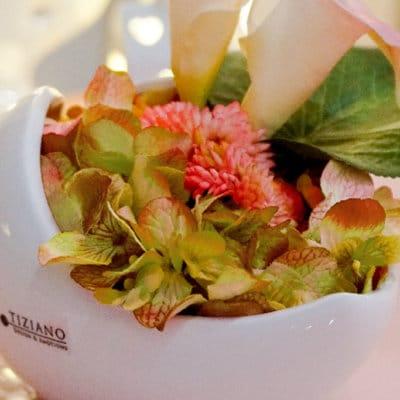 Dekoset Schale Porto 16 rosalia mit Calla rosa