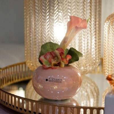 Dekoset Tischvase Vitara rund rosa mit Calla rosa