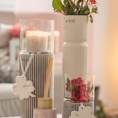 Raumduft Diffuser Senza Cherry Blossom Glas weiß/gold