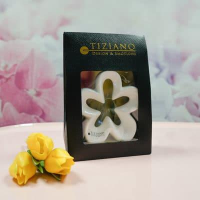 Geschenktüte Dekoblume Alisa 11,5 cm weiß-creme