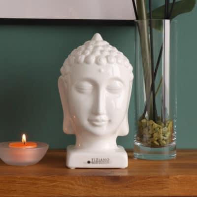 Deko Buddha Kopf weiß-creme