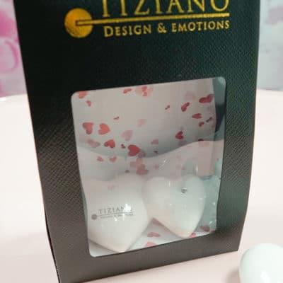 Geschenktüte mit Novare Deko Doppelherz liegend 10 cm mit Kristall