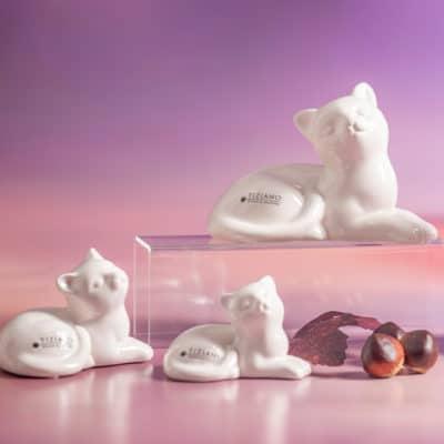 Dekofigur Katze Caty liegend weiß-creme