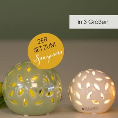 2er Set Lichtkugel Villari weiß-creme+grün