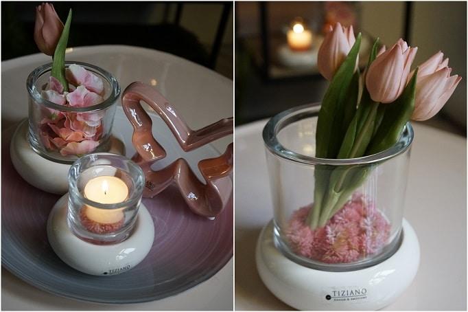 Deko in Windlichter mit Tulpen