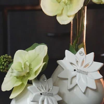 Dekoset Tischvase Vitara mit Hänger Floralia und Orchidee