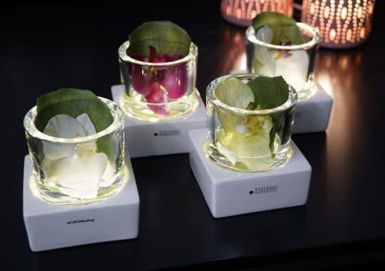 Windlicht Mantova LED mit Orchideen