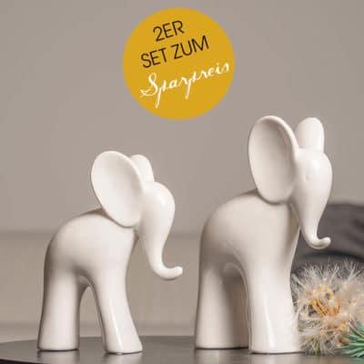 2er Set Deko Elefant Aron 18cm und 23cm weiß-creme
