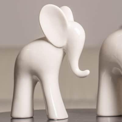 2er Set Deko Elefant Aron 18cm weiß-creme und 23cm schwarz