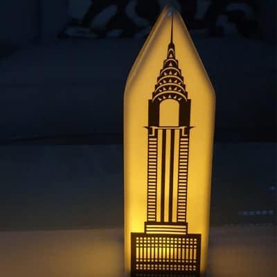 Dekohaus Licht Haus New York LED Chrysler Building Porzellan