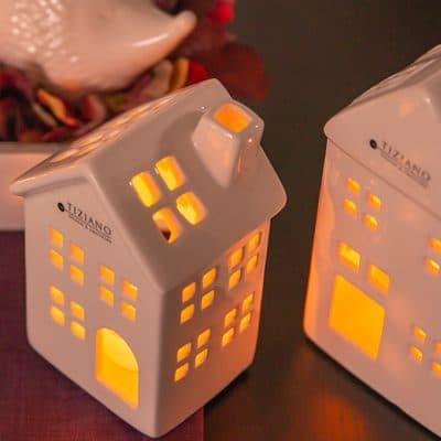 Teelichthaus Maraone creme - weiß