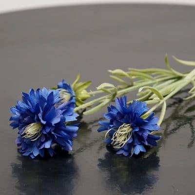 Deko Kornblume dunkelblau mit Blatt