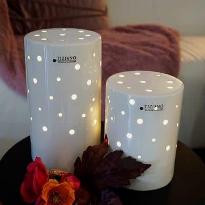 Lampe Lichtsäule Latuna weiß creme