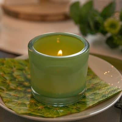 Glas Marit rund 9cm hellgrün solid